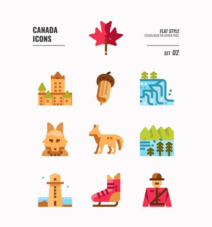 Canada icon set 2. Include Canada landmark, Maple leaf, landscape, red fox and more. Flat icons Design. vector 向量圖像