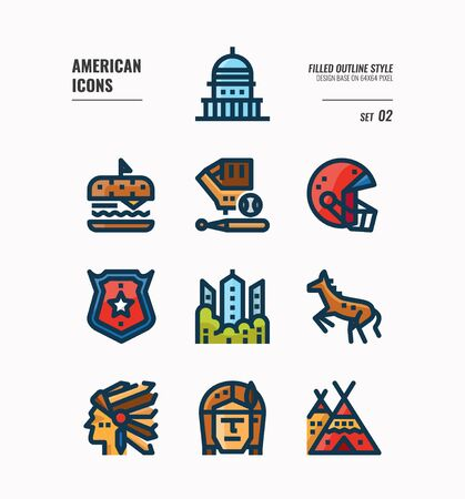 American icon set 2. Include Landmark, Red Indian, food and more. Filled outline icons Design. vector