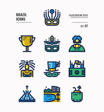 Brazil icon set 2. Include carnival, mask, football, Brazil landmark and more. Flat icons Design. vector