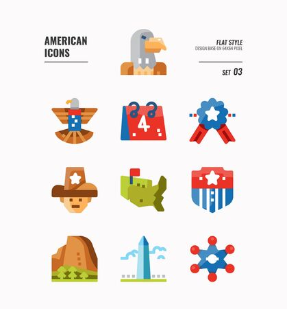 American icon set 3. Include Eagle sign, USA map, Landscape and more. Flat icons Design. vector  イラスト・ベクター素材