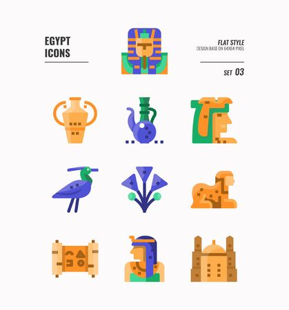 Egypt icon set 3. Include pharaoh, sphinx, cleopatra and more. Flat icons Design. vector 向量圖像