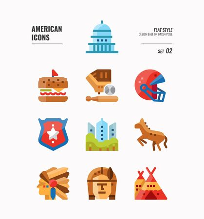 American icon set 2. Include Landmark, Red Indian, food and more. Filled Outline icons Design. vector 向量圖像