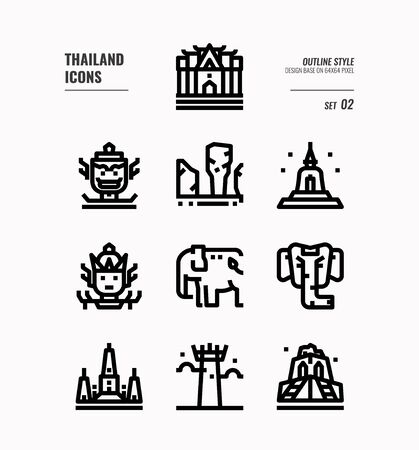 Thailand line icon set 2. Include landmark, sculpture, temple, pagoda, elephant and more. Outline icons Design. vector 向量圖像