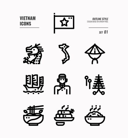 Vietnam line icon set 1. Include flag, landmark, people, food and more. Outline icons Design. vector 向量圖像