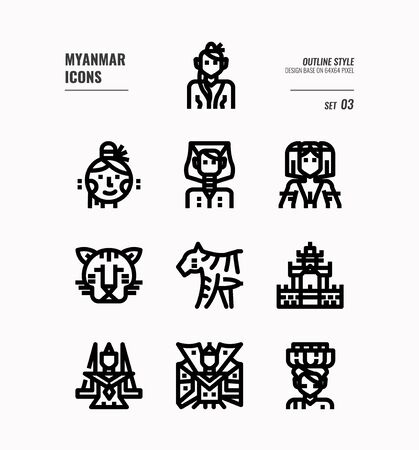 Myanmar line icon set 3. Include landmark, people, animal, culture and more. Outline icons Design. vector