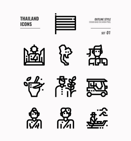 Thailand line icon set 1. Include flag, map, people, transportation and more. Outline icons Design. vector