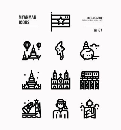 Myanmar  line icon set 1. Include flag, landmark, people, culture and more. Outline icons Design. vector