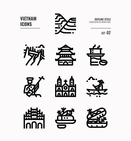 Vietnam line icon set 2. Include landmark, people, food, culture and more. Outline icons Design. vector