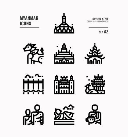 Myanmar line icon set 2. Include landmark, people, culture and more. Outline icons Design. vector