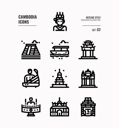 Cambodia  line icon set 3. Include landmark, music, people, culture and more. Outline icons Design. vector 向量圖像