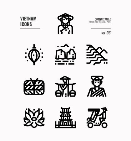 Vietnam line icon set 3. Include landmark, people, food, culture and more. Outline icons Design. vector 向量圖像