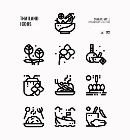 Thailand line icon set 3. Include food, flower, festival, landmark and more. Outline icons Design. vector