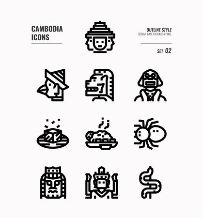 Cambodia  line icon set 2. Include landmark, art, food, culture and more. Outline icons Design. vector