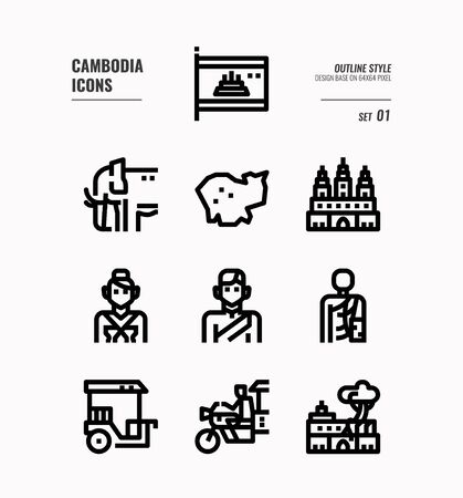 Cambodia line icon set 1. Include flag, landmark, people, culture and more. Outline icons Design. vector Illusztráció