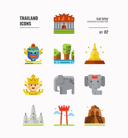 Thailand icon set. Include landmark, sculpture, temple, pagoda, elephant and more. Flat icons Design. vector