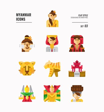 Myanmar icon set. Include landmark, people, animal, culture and more. Flat icons Design. vector