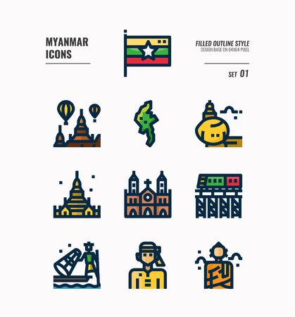Myanmar icon set. Include flag, landmark, people, culture and more. Filled Outline icons Design. vector