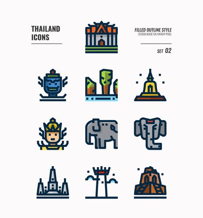 Thailand icon set Include landmark, sculpture, temple, pagoda, elephant and more. Filled Outline icons Design. vector