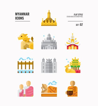 Myanmar icon set. Include landmark, people, culture and more. Flat icons Design. vector