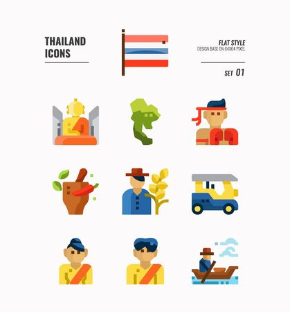 Thailand icon set. Include flag, map, people, transportation and more. Flat icons Design. vector