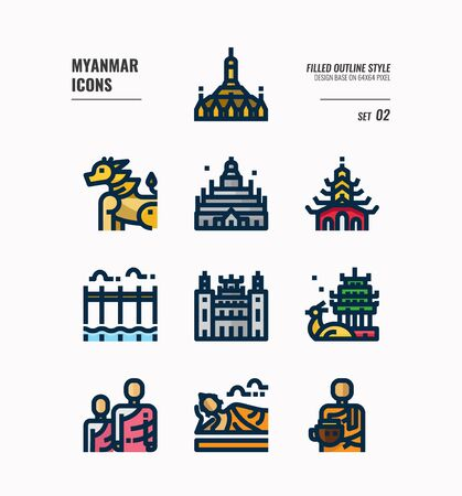 Myanmar icon set. Include landmark, people, culture and more. Filled Outline icons Design. vector Иллюстрация