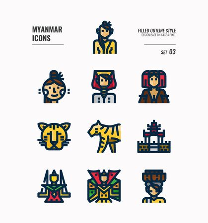 Myanmar icon set. Include landmark, people, animal, culture and more. Filled Outline icons Design. vector