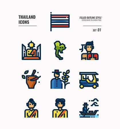 Thailand icon set. Include flag, map, people, transportation and more. Filled Outline icons Design. vector 向量圖像