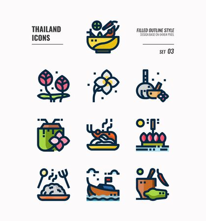 Thailand icon set. Include food, flower, festival, landmark and more. Filled Outline icons Design. vector