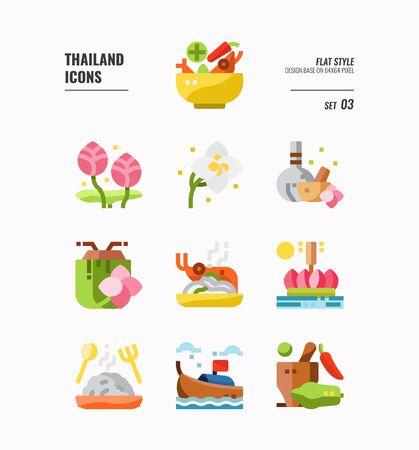 Zestaw ikon Tajlandii. Uwzględnij jedzenie, kwiat, festiwal, punkt orientacyjny i nie tylko. Płaskie ikony Design. wektor