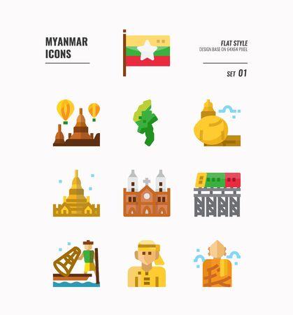 Insieme dell'icona di Birmania. Includi bandiera, punto di riferimento, persone, cultura e altro. Progettazione piana delle icone. vettore