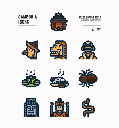 Cambodia icon set. Include landmark, art, food, culture and more. Filled Outline icons Design. vector illustration