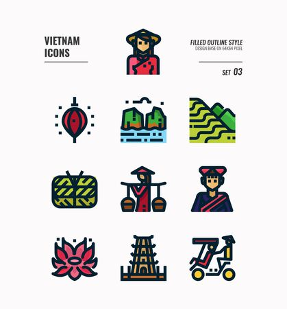 Vietnam icon set. Include landmark, people, food, culture and more. Filled Outline icons Design. vector illustration