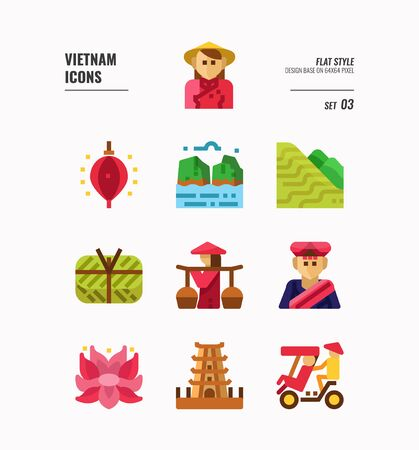 Vietnam icon set. Include landmark, people, food, culture and more. Flat icons Design. vector illustration