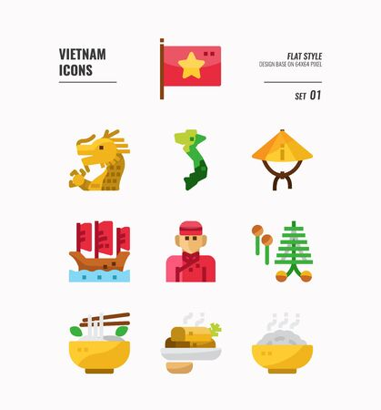 Vietnam icon set. Include flag, landmark, people, food and more. Flat icons Design. vector illustration 向量圖像