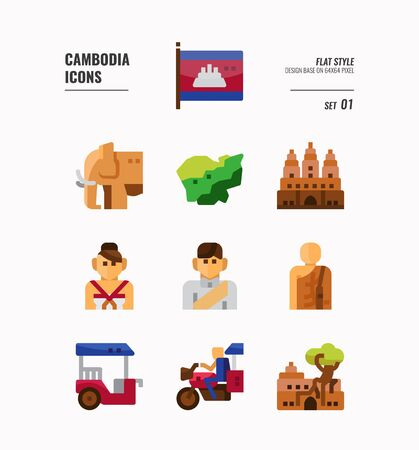 Cambodia icon set. Include flag, landmark, people, culture and more. Flat icons Design. vector illustration Illusztráció