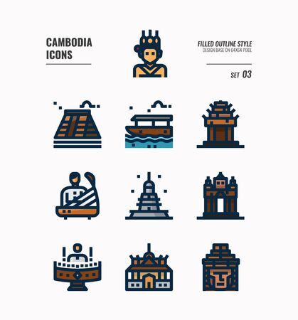 Cambodia icon set. Include landmark, music, people, culture and more. Filled Outline icons Design. vector illustration 向量圖像