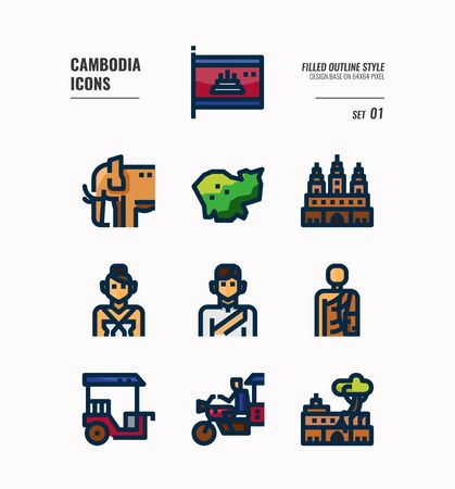 Cambodia icon set. Include flag, landmark, people, culture and more. Filled Outline icons Design. vector illustration