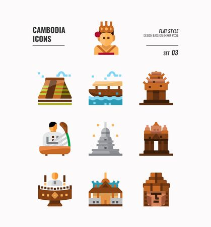 Cambodia icon set. Include landmark, music, people, culture and more. Flat icons Design. vector illustration