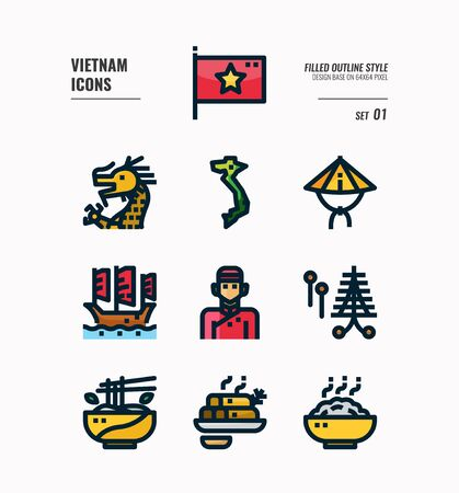 Vietnam icon set. Include flag, landmark, people, food and more. Filled Outline icons Design. vector illustration 向量圖像