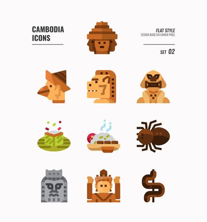 Cambodia icon set. Include landmark, art, food, culture and more. Flat icons Design. vector illustration