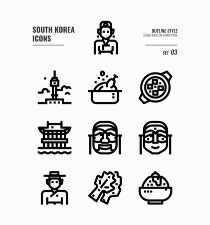 South Korea icon set. Include landmark, people, food, art and more. Outline icons Design. vector illustration