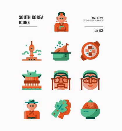 South Korea icon set. Include landmark, people, food, art and more. Flat icons Design. vector illustration