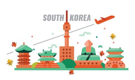 South Korean autumn travel. Flat design icons. vector illustration