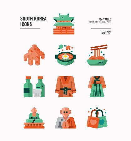 South Korea icon set . Include landmark, food, Traditional Culture and more. Flat icons Design. vector illustration Çizim