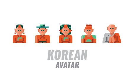 Korean Traditional Avatar. Flat design icons. vector illustration