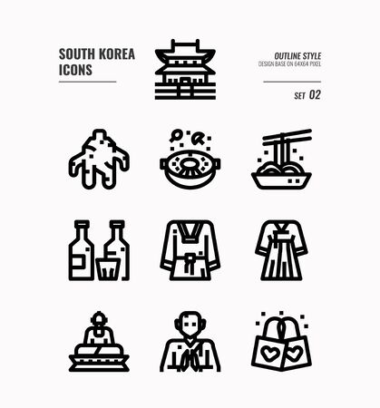 South Korea icon set. Include landmark, food, Traditional Culture and more. Outline icons Design. vector illustration Çizim