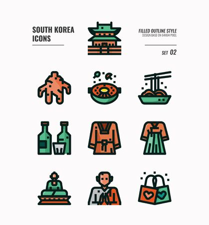 South Korea icon set. Include landmark, food, Traditional Culture and more. Filled Outline icons Design. vector illustration