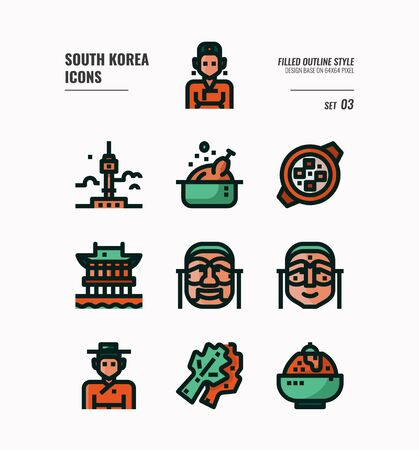 South Korea icon set. Include landmark, people, food, art and more. Filled Outline icons Design. vector illustration