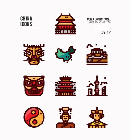 China icon set. Include People, Culture, architecture, map and more. Filled Outline icons Design. vector illustration 向量圖像