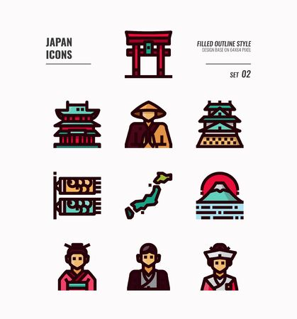 Japan flat icon set . Include Traditional costume, people, architecture, landscape, art and more. Filled outline icons Design. vector illustration